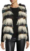 Alberto Makali Mixed Fox & Mongolian Lamb Fur Vest, Beige