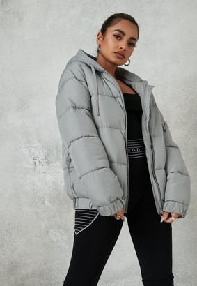 Missguided Tall Gray Jersey Hooded Puffer Coat