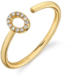 Unwritten Cubic Zirconia Initial Gold-Tone Fine Plated Silver Delicate Adjustable Ring