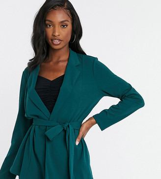 Asos Tall ASOS DESIGN Tall jersey wrap suit blazer in forest green