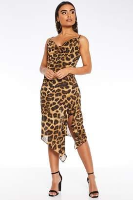 Quiz Tan Leopard Print Midi Dress