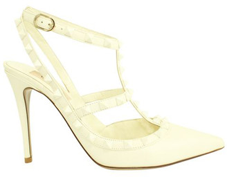 Valentino White Leather Rockstud Sandals