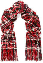 Rag & Bone Linton Fringed Wool-blend Tweed Scarf - Red