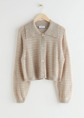 And other stories Alpaca Blend Wide Collar Knit Cardigan