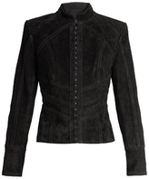 Balmain Hook-and-eye front suede jacket