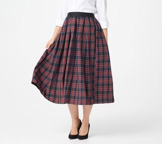 Joan Rivers Classics Collection Joan Rivers Petite Pull-On Tartan Plaid Midi Skirt