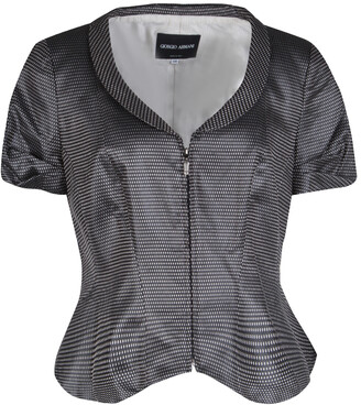 Giorgio Armani Dark Grey Dotted Jacquard Short Sleeve Zip Front Jacket L