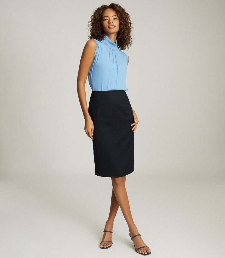 Reiss Hayes - Tailored Pencil Skirt in Navy