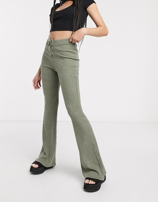 Topshop lace up flared pants in khaki