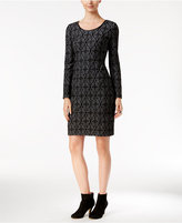INC International Concepts Faux-Leather-Trim Jacquard Sheath Dress, Only at Macy's