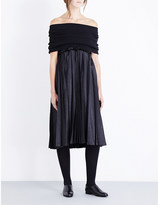 Junya Watanabe Off-the-shoulder knitted and satin dress