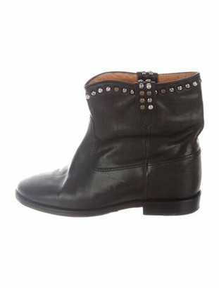 Isabel Marant Leather Studded Accents Slouch Boots Black