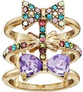 Betsey Johnson Triple Bow Multi Row Ring