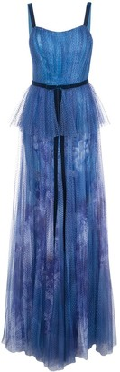Marchesa printed sequin pleated tulle gown