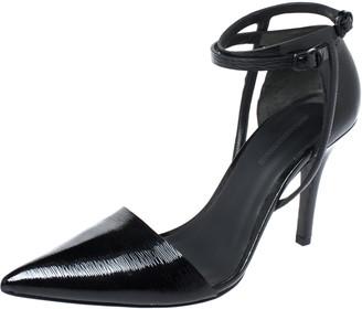 Alexander Wang Black Patent Leather Ankle Strap Emma Sandals 37.5