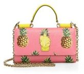 Dolce & Gabbana Pineapple-Print Saffiano Leather Chain Phone Wallet