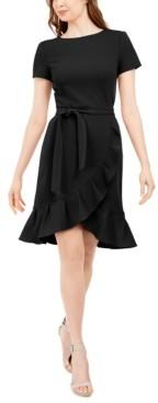Calvin Klein Petite Ruffled Tulip-Hem Crepe Dress
