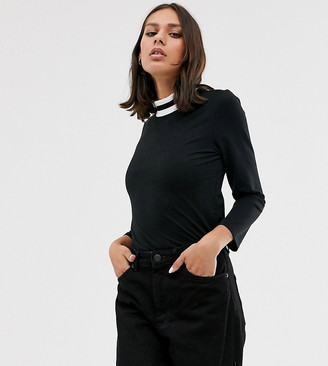 Monki high neck top with contrast ringer-Black