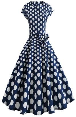Pingtr Hepburn Vintage Dress 20's-50's Women Retro Floral Printing Sleeveless Dress High-Waist Pleated Dress Rockabilly Swing Party Dress