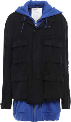 R 13 Layered French Cotton-terry And Canvas Hooded Jacket
