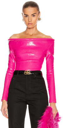 Balenciaga Sequin Ring Bodysuit Top in Fluo Pink | FWRD