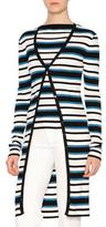 Dolce & Gabbana Long-Sleeve Striped Cardigan, Blue/White/Black