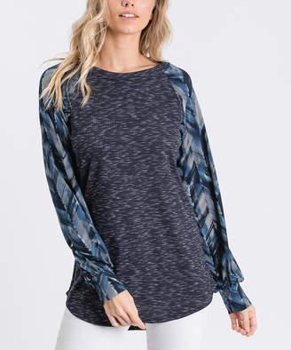 Cool Melon Women's Tee Shirts Heathered - Heather Navy Geometric Cuffed Raglan Tee - Women & Plus