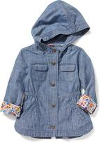 Old Navy Hooded Chambray Surplus Jacket for Toddler Girls