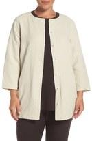 Eileen Fisher Plus Size Women's 'Stucco' Linen & Cotton Double Weave Round Neck Jacket