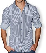 191 Unlimited Men's Blue Stripe Contrast Cuff Slim Fit Shirt