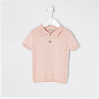 River Island Mini Boys pink knitted polo shirt