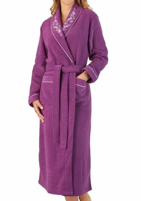Slenderella Womens Shawl Collar Dressing Gown Boucle Fleece Embroidered Housecoat Large (Raspberry)