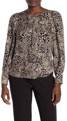 Rebecca Taylor Leopard Print Long Sleeve Silk Blouse