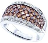 JawaFashion 14kt White Gold Womens Round Cognac- Colored Diamond Cocktail Ring 1-1/2 Cttw
