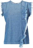 Closed ruffled top - women - Cotton - S