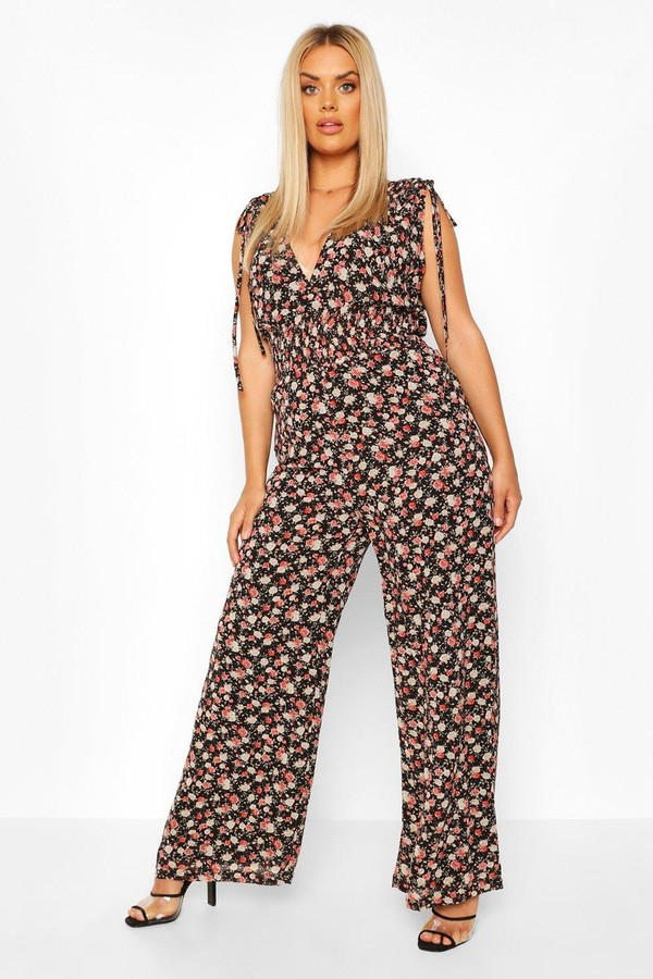 boohoo Plus Floral Shirred Tie Detail Wide Leg Jumpsuit