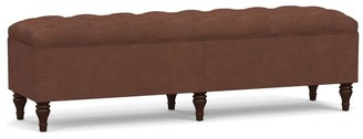 Pottery Barn Lorraine Tufted Leather King Storage Bench