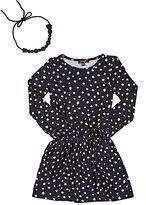 Imoga Polka-Dot-Print Jersey Dress-NAVY