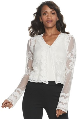 Women's Nina Leonard Long Sleeve Embroidered Tulle Bolero