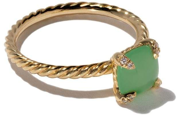 David Yurman 18kt yellow gold Châtelaine chrysoprase and diamond ring