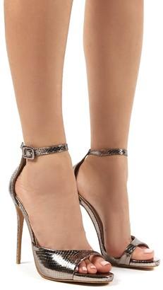 Public Desire Uk Jiselle Pewter Metallic Snake Heels