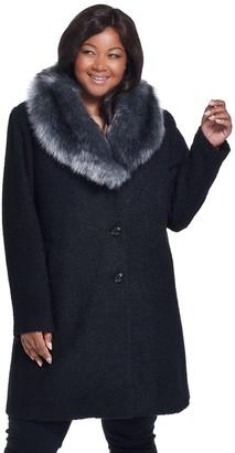 Gallery Plus Size Faux-Fur Shawl Collar Wool Coat