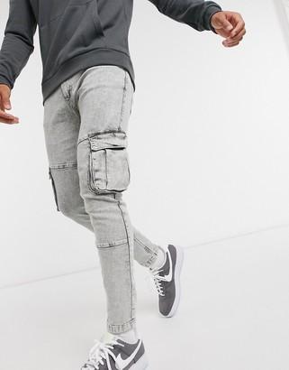 Bershka super skinny cargo trousers in grey acid wash