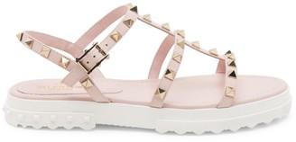 Valentino Rockstud Leather Flatform Sandals