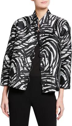 Caroline Rose Petite Swirl Jacquard Mandarin-Collar Jacket
