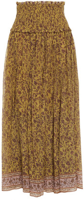 Zimmermann Shirred Floral-print Cotton And Silk-blend Crepon Midi Skirt
