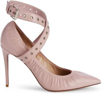 Valentino Garavani Love Latch Grommeted Leather Ankle-Wrap Pumps