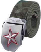 LerBen Men's Adjustable Canvas Web Belt Star Buckle Military Style Waistband