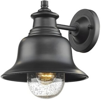 """Breakwater Bay Sadie Outdoor Armed Sconce Fixture Finish: Black, Size: 10"""" H x 10.25"""" W x 9"""" D"""