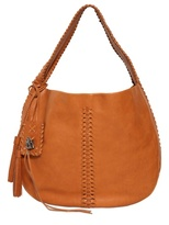 Ralph Lauren Woven Tassels Brushed Leather Hobo Bag